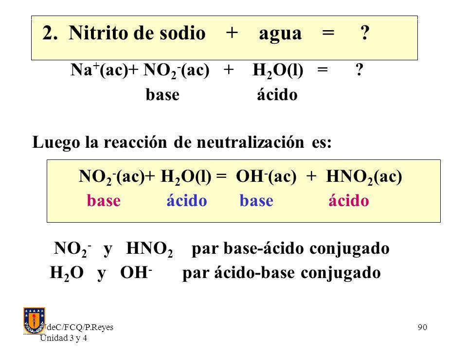 UdeC/FCQ/P.Reyes Unidad 3 y 4 90 2. Nitrito de sodio + agua = ? Na + (ac)+ NO 2 - (ac) + H 2 O(l) = ? base ácido Luego la reacción de neutralización e