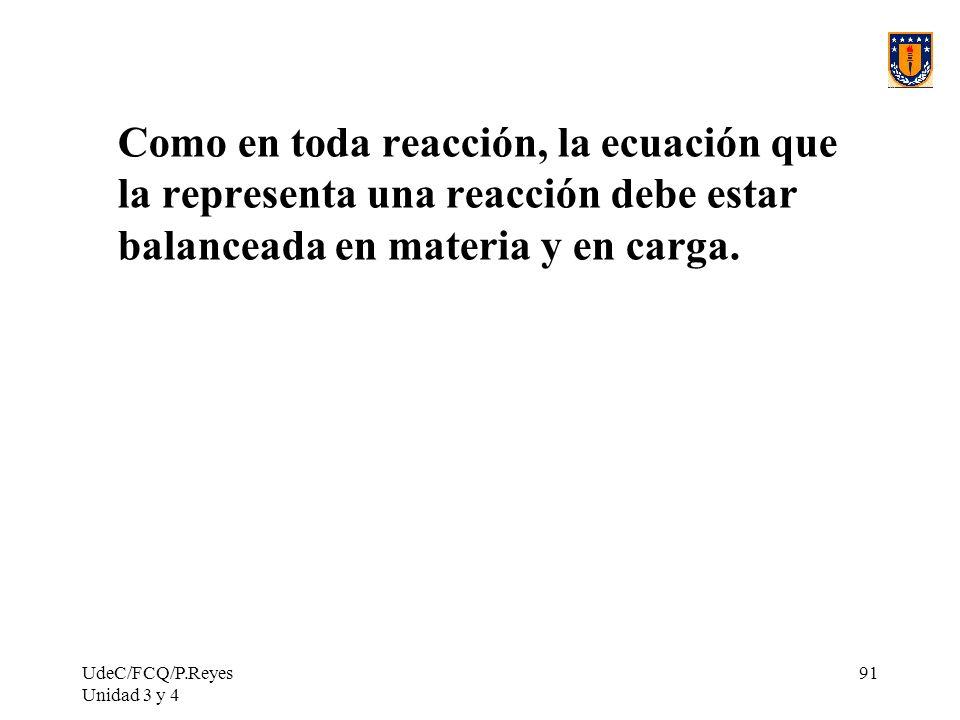 UdeC/FCQ/P.Reyes Unidad 3 y 4 91 Como en toda reacción, la ecuación que la representa una reacción debe estar balanceada en materia y en carga.
