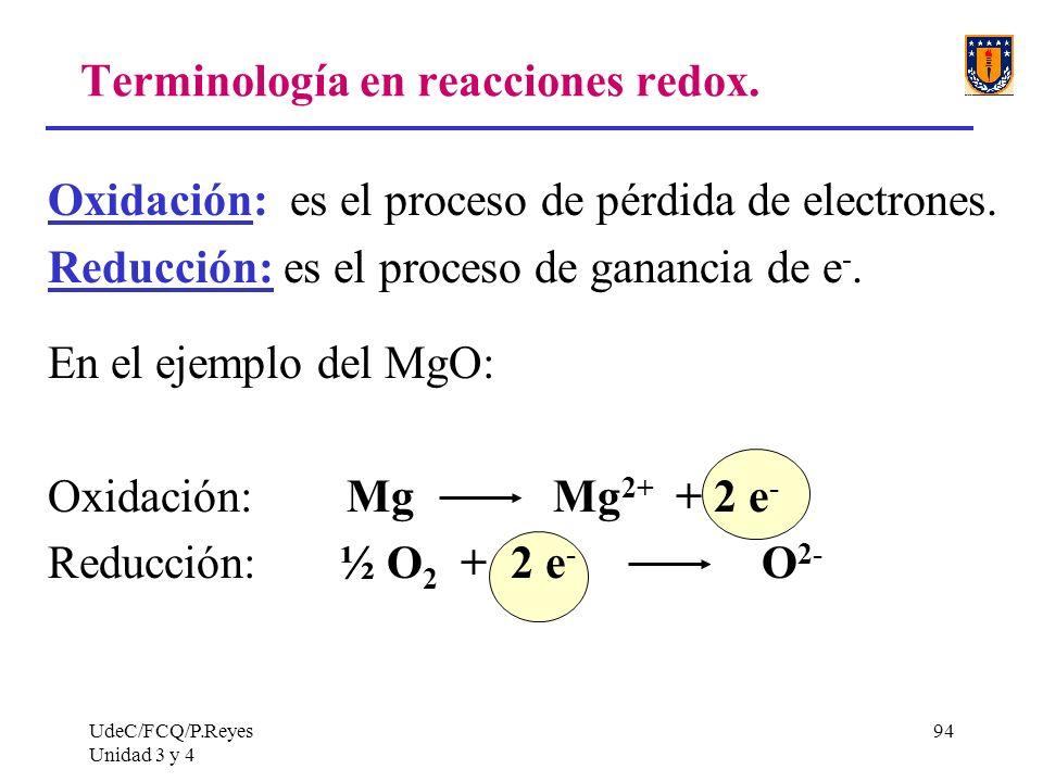 UdeC/FCQ/P.Reyes Unidad 3 y 4 94 Terminología en reacciones redox. Oxidación: es el proceso de pérdida de electrones. Reducción: es el proceso de gana