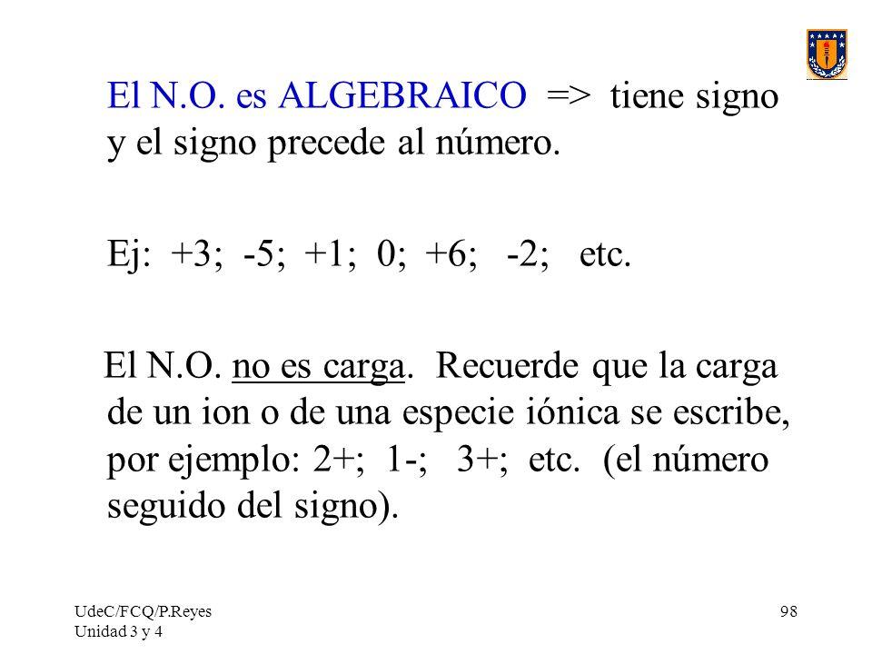 UdeC/FCQ/P.Reyes Unidad 3 y 4 98 El N.O. es ALGEBRAICO => tiene signo y el signo precede al número. Ej: +3; -5; +1; 0; +6; -2; etc. El N.O. no es carg