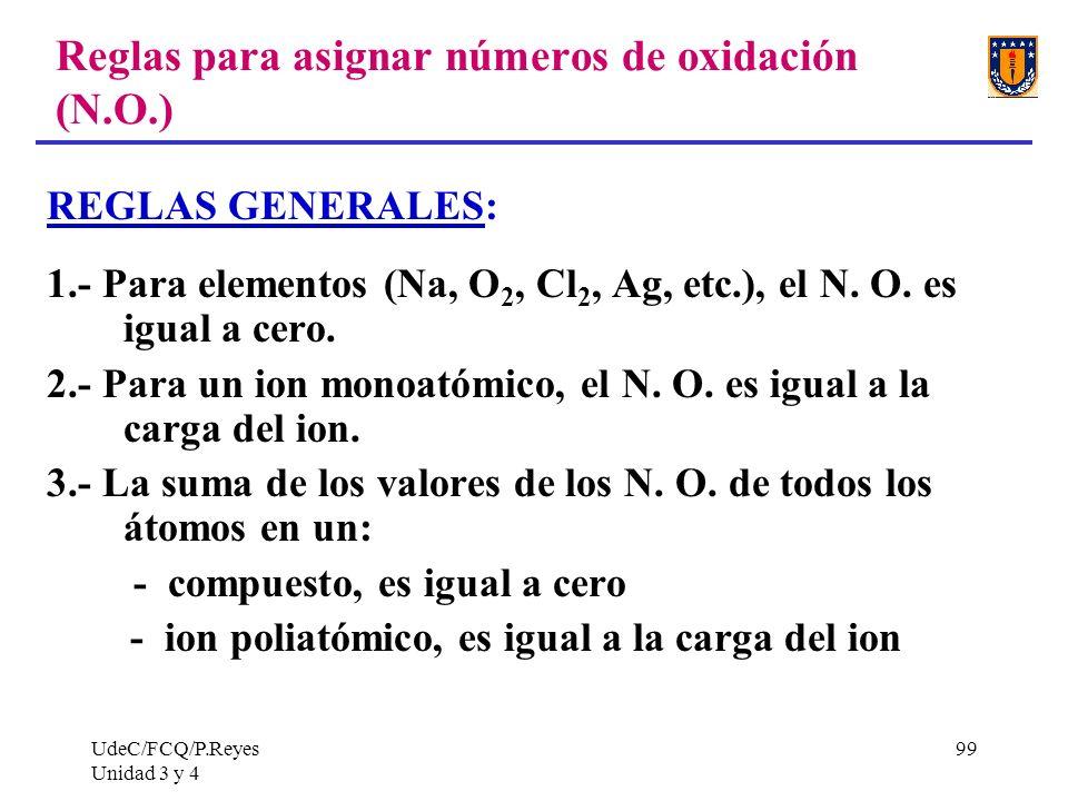 UdeC/FCQ/P.Reyes Unidad 3 y 4 99 Reglas para asignar números de oxidación (N.O.) REGLAS GENERALES: 1.- Para elementos (Na, O 2, Cl 2, Ag, etc.), el N.