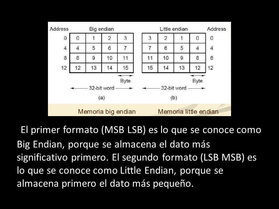 + El primer formato (MSB LSB) es lo que se conoce como Big Endian, porque se almacena el dato más significativo primero. El segundo formato (LSB MSB)