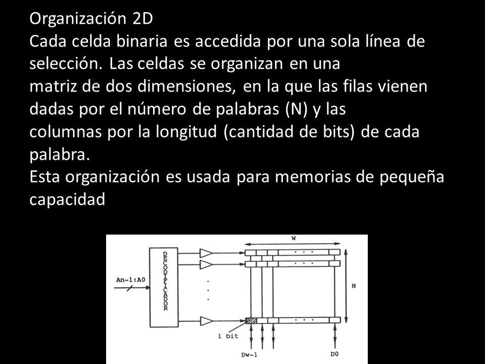 Organización 2D Cada celda binaria es accedida por una sola línea de selección. Las celdas se organizan en una matriz de dos dimensiones, en la que la