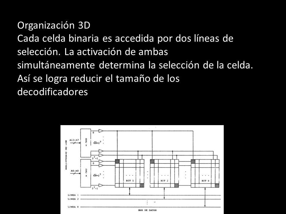 Organización 3D Cada celda binaria es accedida por dos líneas de selección. La activación de ambas simultáneamente determina la selección de la celda.
