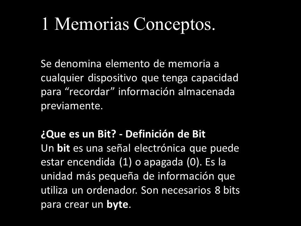1 Memorias Conceptos. Se denomina elemento de memoria a cualquier dispositivo que tenga capacidad para recordar información almacenada previamente. ¿Q