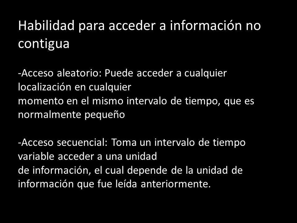 Habilidad para acceder a información no contigua -Acceso aleatorio: Puede acceder a cualquier localización en cualquier momento en el mismo intervalo