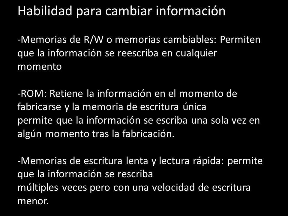 Habilidad para cambiar información -Memorias de R/W o memorias cambiables: Permiten que la información se reescriba en cualquier momento -ROM: Retiene