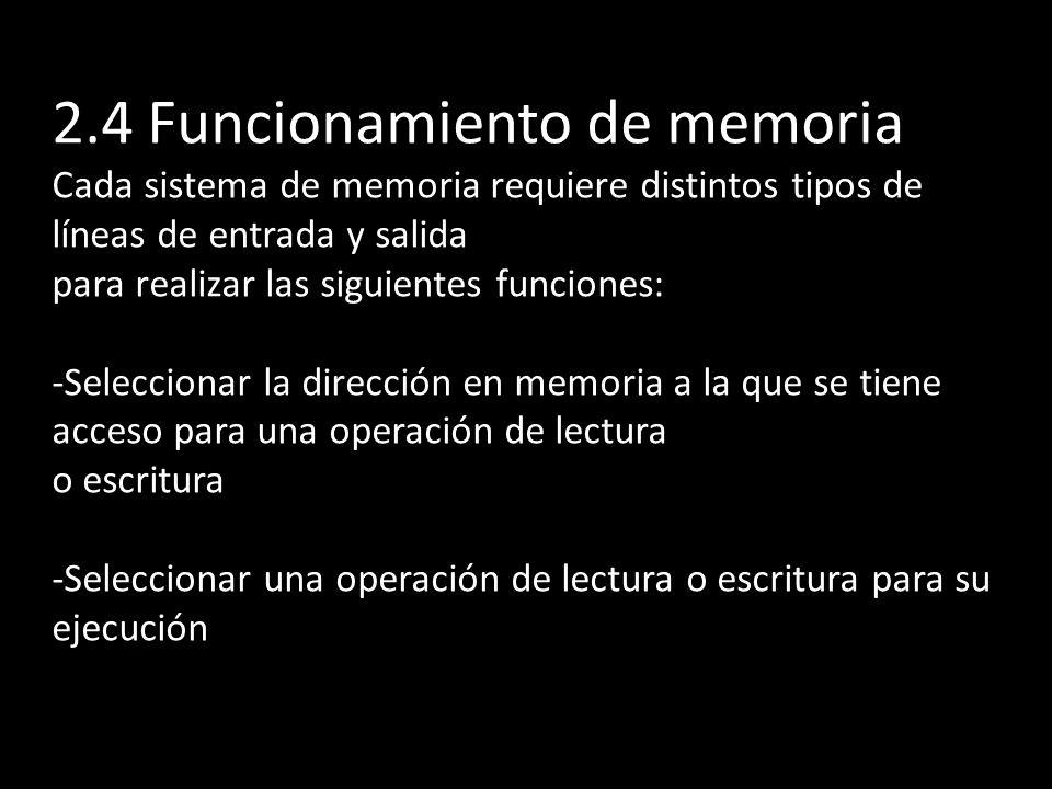 2.4 Funcionamiento de memoria Cada sistema de memoria requiere distintos tipos de líneas de entrada y salida para realizar las siguientes funciones: -