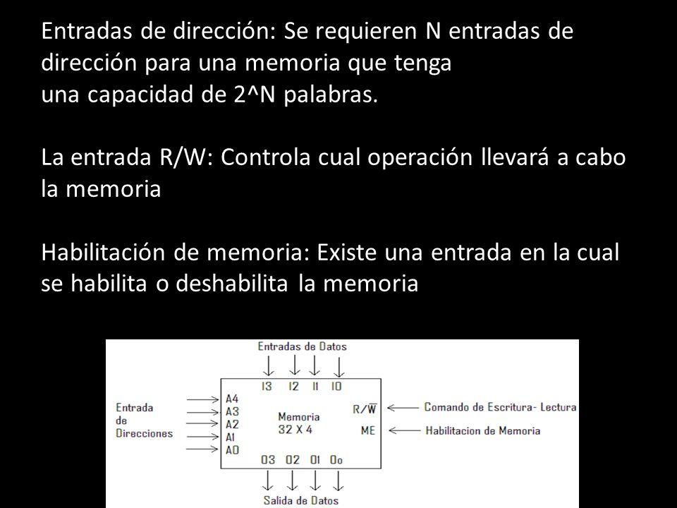 Entradas de dirección: Se requieren N entradas de dirección para una memoria que tenga una capacidad de 2^N palabras. La entrada R/W: Controla cual op