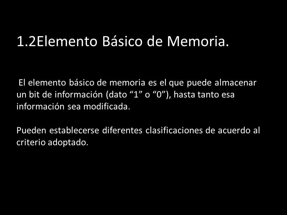 1.2Elemento Básico de Memoria. El elemento básico de memoria es el que puede almacenar un bit de información (dato 1 o 0), hasta tanto esa información