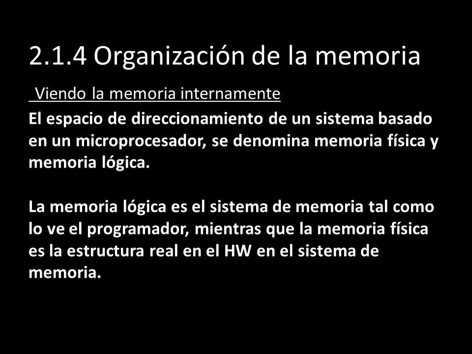 2.1.4 Organización de la memoria Viendo la memoria internamente El espacio de direccionamiento de un sistema basado en un microprocesador, se denomina