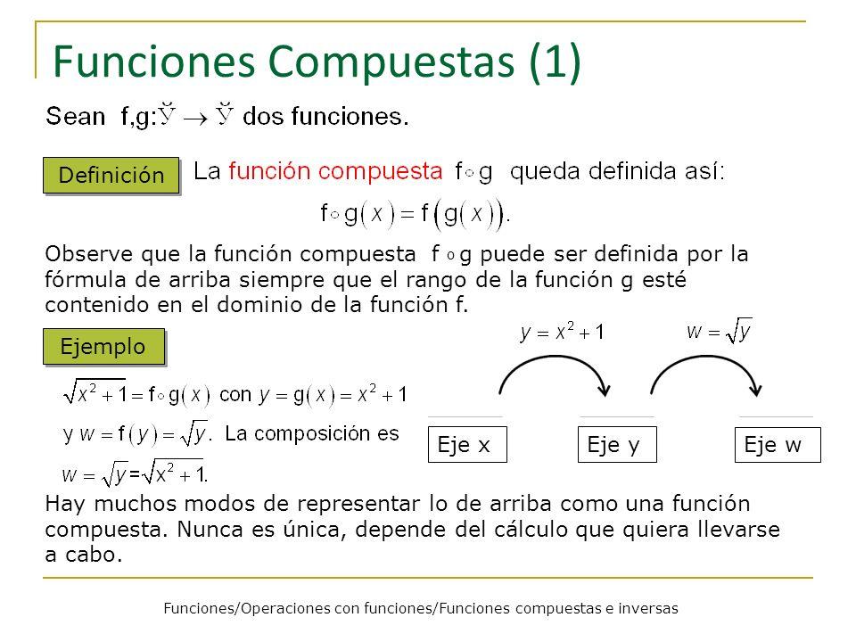 Funciones Compuestas (1) Definición Observe que la función compuesta f o g puede ser definida por la fórmula de arriba siempre que el rango de la func