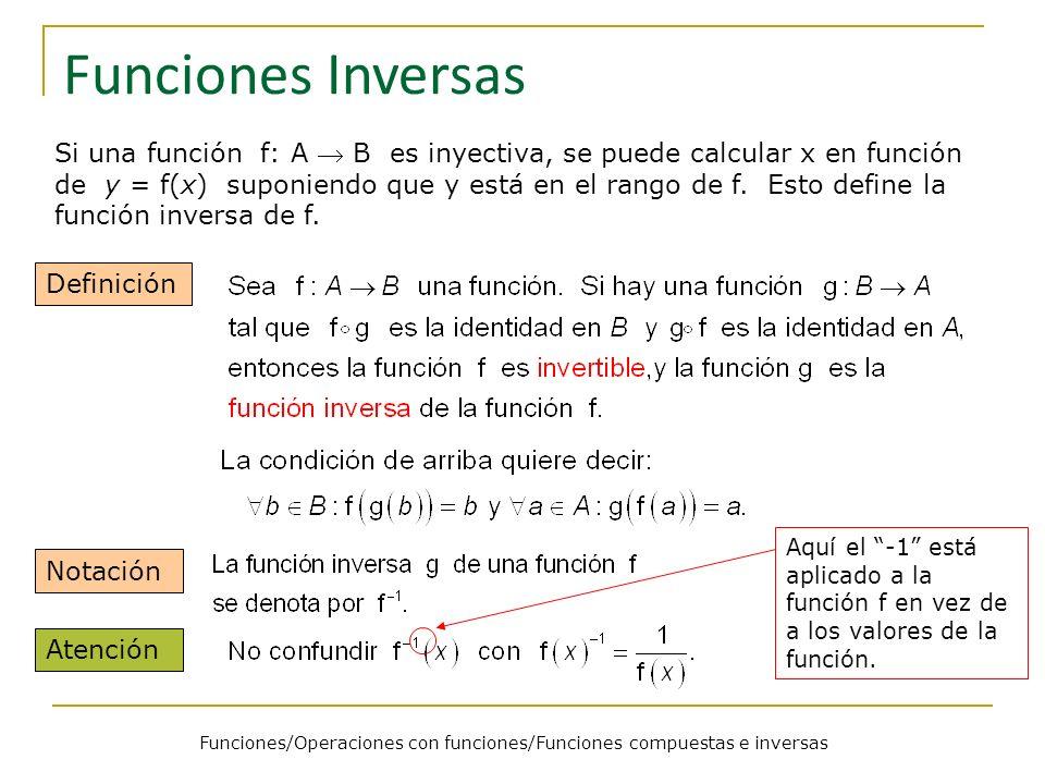 Funciones/Operaciones con funciones/Funciones compuestas e inversas Funciones Inversas Si una función f: A B es inyectiva, se puede calcular x en func