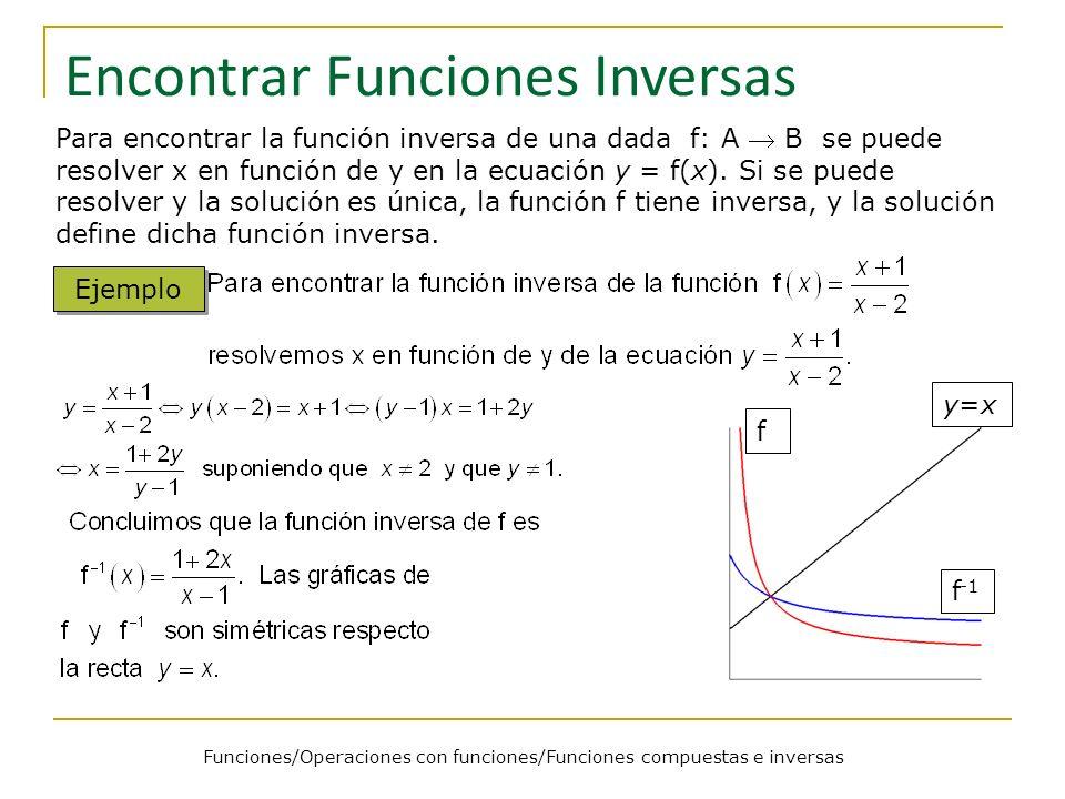 Funciones/Operaciones con funciones/Funciones compuestas e inversas Encontrar Funciones Inversas Para encontrar la función inversa de una dada f: A B