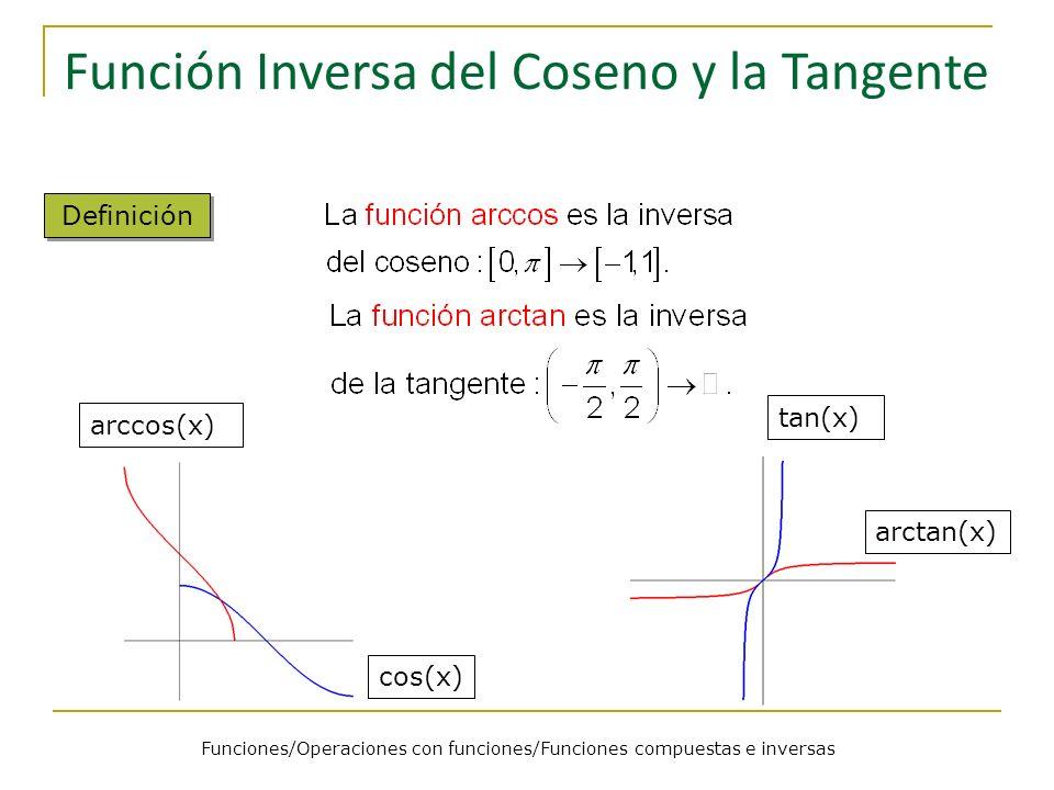 Funciones/Operaciones con funciones/Funciones compuestas e inversas Función Inversa del Coseno y la Tangente Definición arccos(x) cos(x) tan(x) arctan