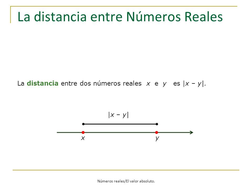 Números reales/El valor absoluto. La distancia entre Números Reales La distancia entre dos números reales x e y es |x – y|. x y |x – y|