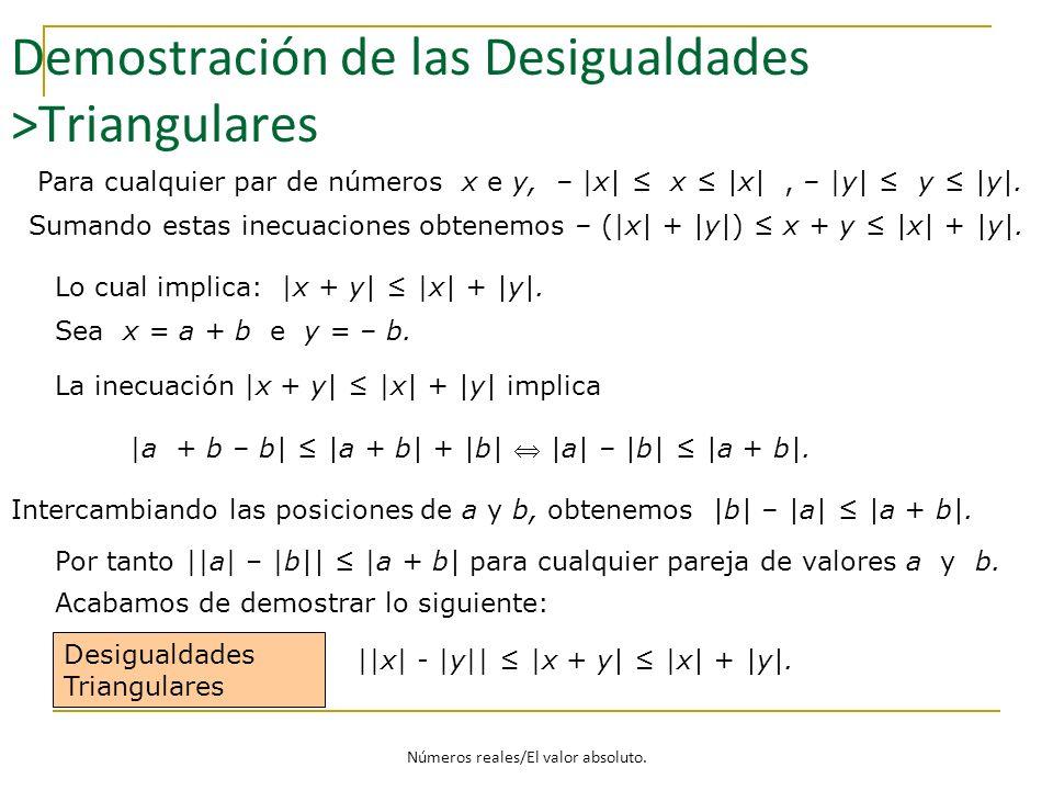 Demostración de las Desigualdades >Triangulares Desigualdades Triangulares ||x| - |y|| |x + y| |x| + |y|. Para cualquier par de números x e y, – |x| x