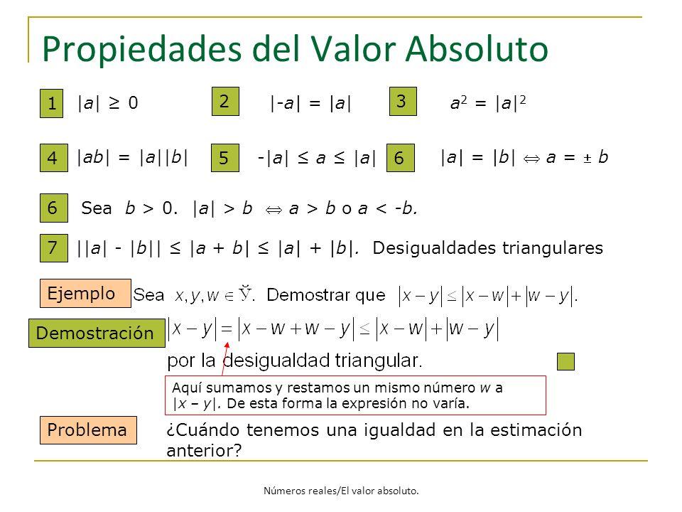 Propiedades del Valor Absoluto 7 ||a| - |b|| |a + b| |a| + |b|. Desigualdades triangulares Ejemplo Problema ¿Cuándo tenemos una igualdad en la estimac