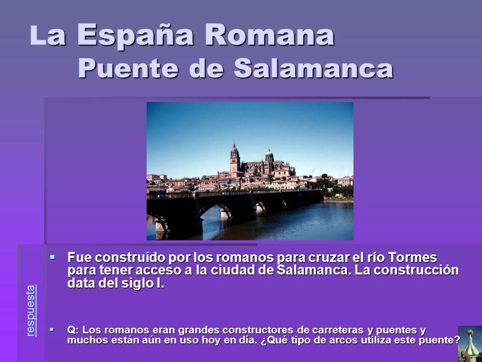 a España Romana Puente de Salamanca L a España Romana Puente de Salamanca Fue construido por los romanos para cruzar el río Tormes para tener acceso a