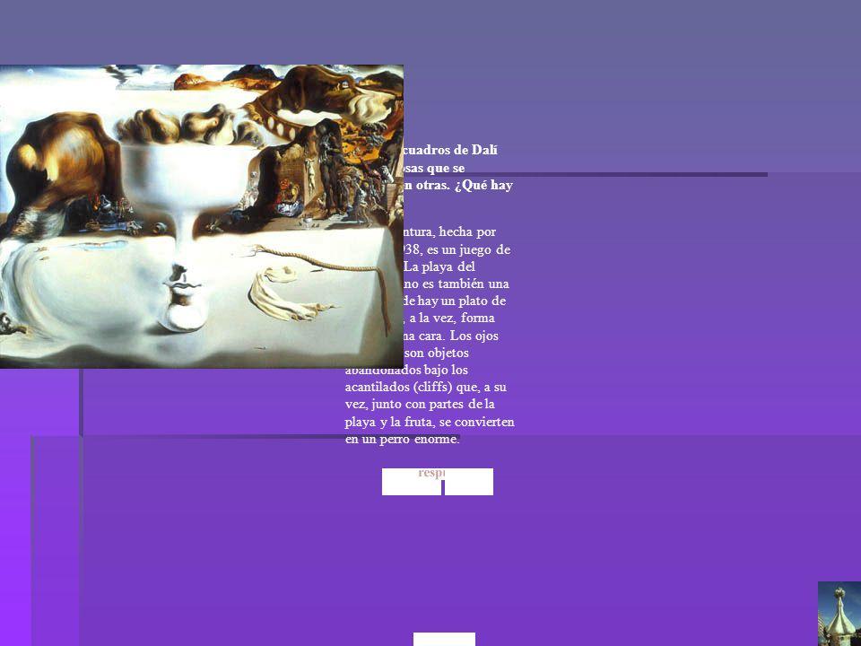 A: Esta pintura, hecha por Dalí en 1938, es un juego de ilusiones. La playa del primer plano es también una mesa donde hay un plato de frutas que, a l