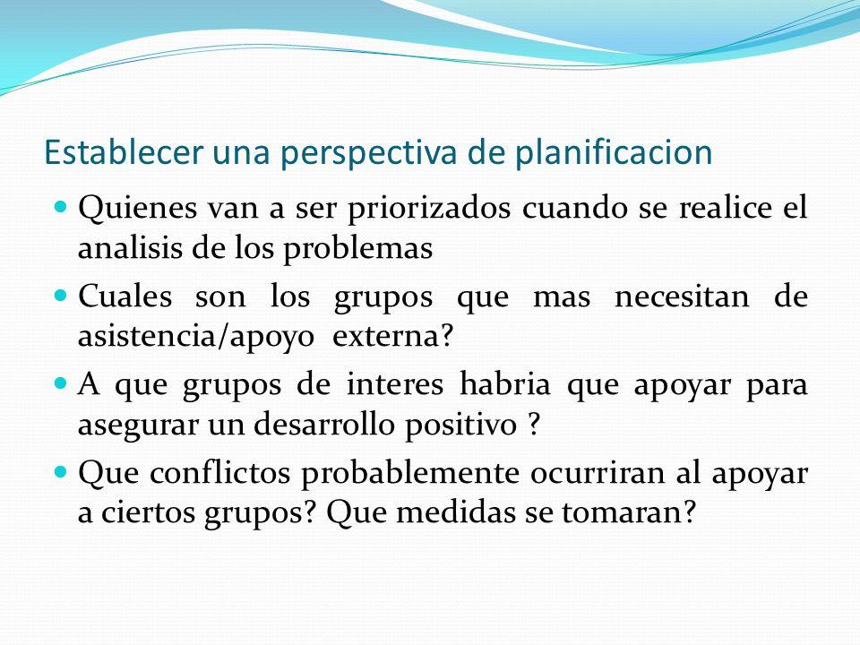Establecer una perspectiva de planificacion Quienes van a ser priorizados cuando se realice el analisis de los problemas Cuales son los grupos que mas necesitan de asistencia/apoyo externa.
