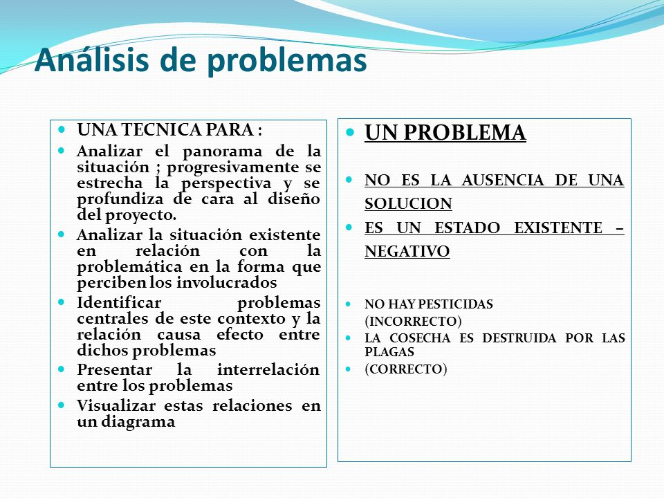 Análisis de problemas UNA TECNICA PARA : Analizar el panorama de la situación ; progresivamente se estrecha la perspectiva y se profundiza de cara al diseño del proyecto.