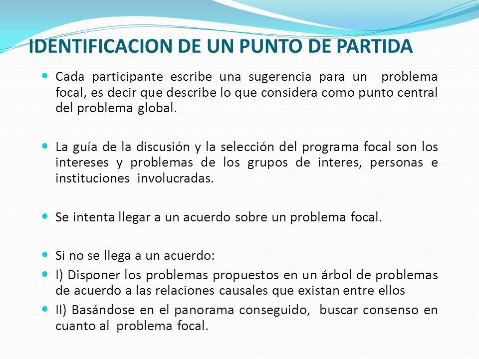 IDENTIFICACION DE UN PUNTO DE PARTIDA Cada participante escribe una sugerencia para un problema focal, es decir que describe lo que considera como punto central del problema global.