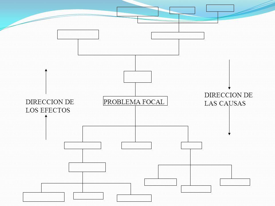 PROBLEMA FOCAL DIRECCION DE LAS CAUSAS DIRECCION DE LOS EFECTOS