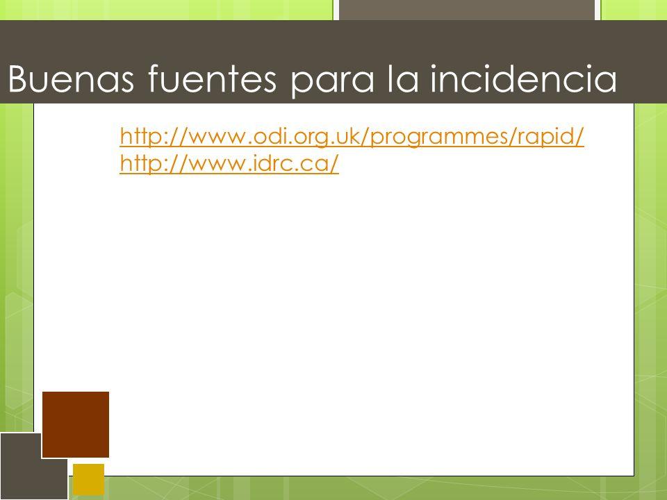 Buenas fuentes para la incidencia http://www.odi.org.uk/programmes/rapid/ http://www.idrc.ca/