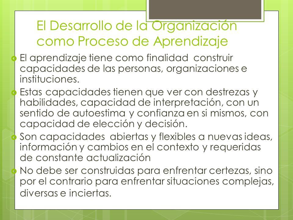 El Desarrollo de la Organización como Proceso de Aprendizaje El aprendizaje tiene como finalidad construir capacidades de las personas, organizaciones e instituciones.