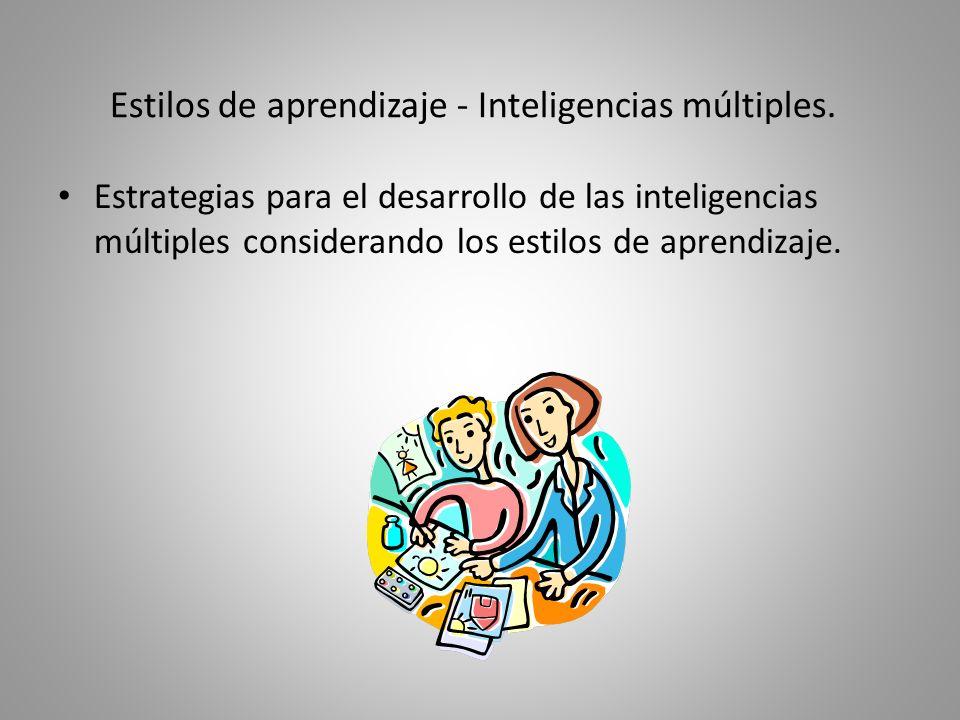 De acuerdo a lo aprendido... ¿Qué estrategias puede utilizar el docente para desarrollar una inteligencia múltiple considerando los estilos de aprendi