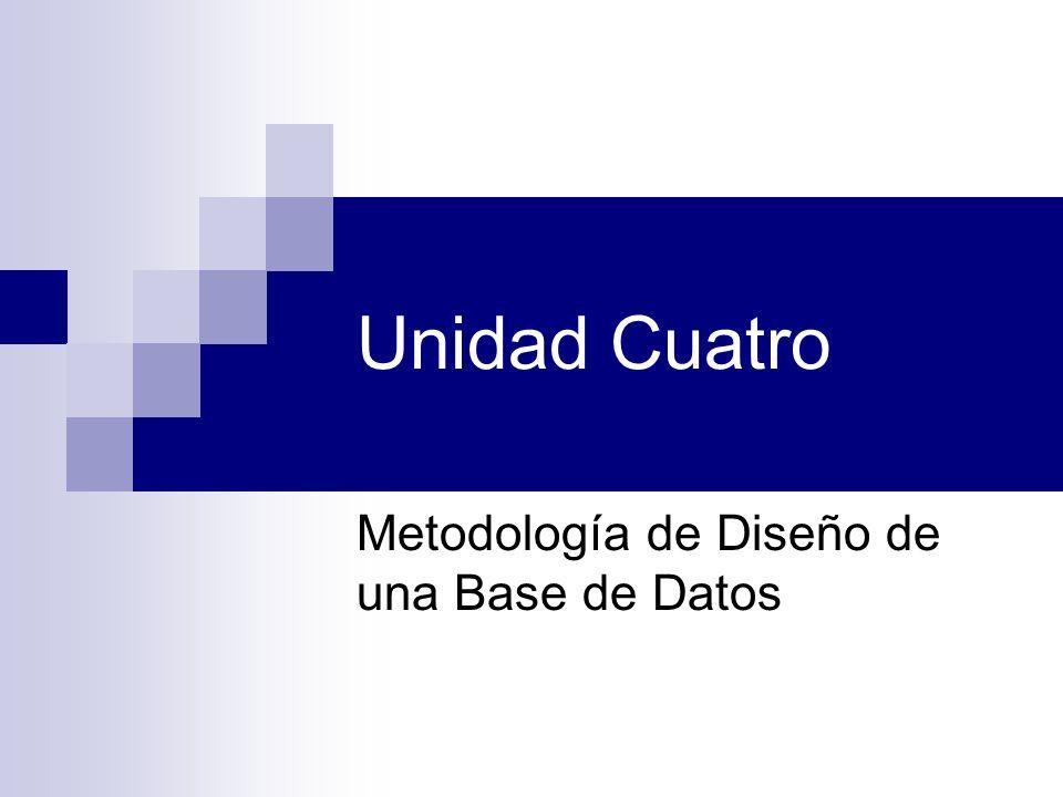 Unidad Cuatro Metodología de Diseño de una Base de Datos