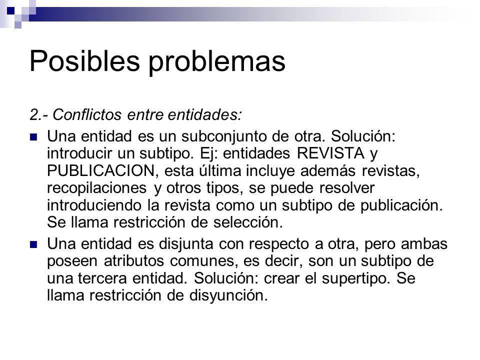 Posibles problemas 2.- Conflictos entre entidades: Una entidad es un subconjunto de otra. Solución: introducir un subtipo. Ej: entidades REVISTA y PUB