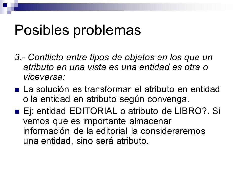 Posibles problemas 3.- Conflicto entre tipos de objetos en los que un atributo en una vista es una entidad es otra o viceversa: La solución es transfo