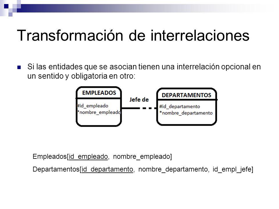 Transformación de interrelaciones Si las entidades que se asocian tienen una interrelación opcional en un sentido y obligatoria en otro: Empleados[id_