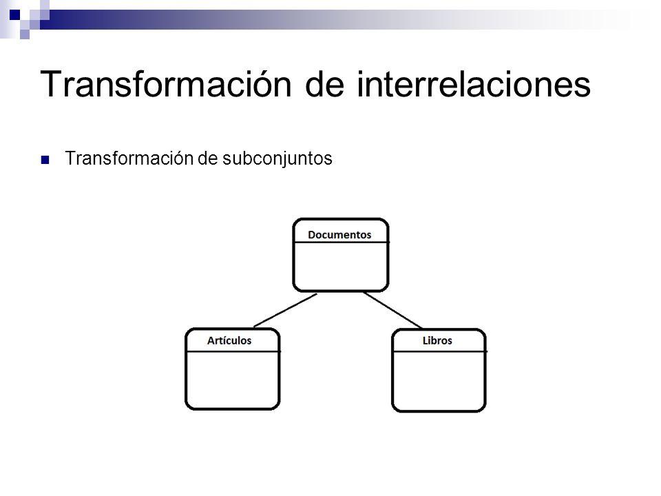 Transformación de interrelaciones Transformación de subconjuntos