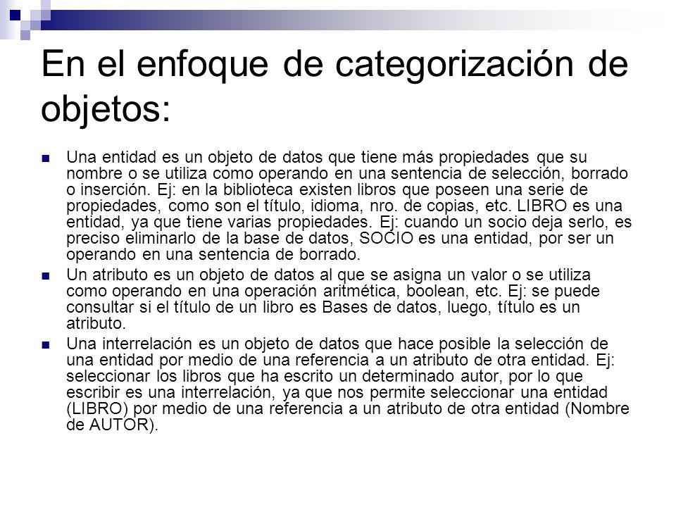 En el enfoque de categorización de objetos: Una entidad es un objeto de datos que tiene más propiedades que su nombre o se utiliza como operando en un