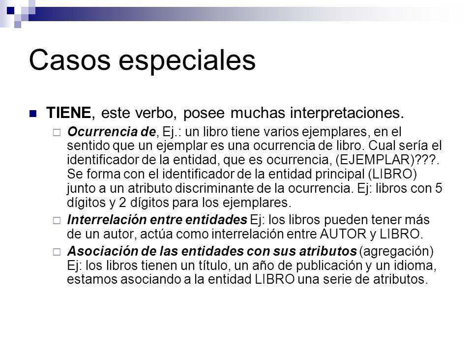 Casos especiales TIENE, este verbo, posee muchas interpretaciones. Ocurrencia de, Ej.: un libro tiene varios ejemplares, en el sentido que un ejemplar