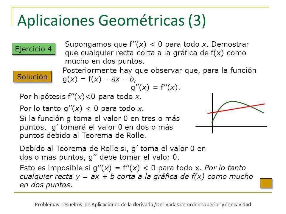 Aplicaiones Geométricas (3) Ejercicio 4 Solución Por hipótesis f(x)<0 para todo x. Si la función g toma el valor 0 en tres o más puntos, g tomará el v