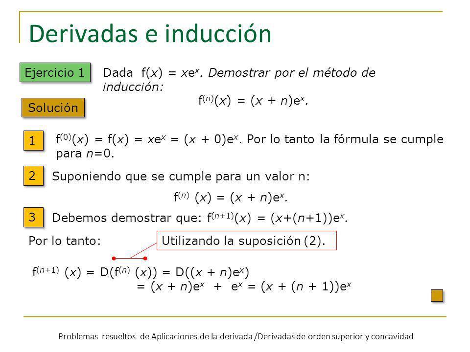 Derivadas e inducción f (0) (x) = f(x) = xe x = (x + 0)e x. Por lo tanto la fórmula se cumple para n=0. 1 1 2 2 3 3 Suponiendo que se cumple para un v