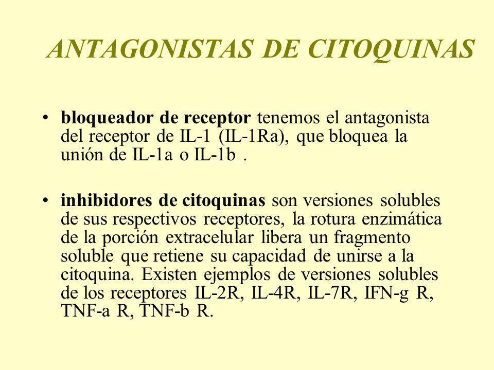 ANTAGONISTAS DE CITOQUINAS bloqueador de receptor tenemos el antagonista del receptor de IL-1 (IL-1Ra), que bloquea la unión de IL-1a o IL-1b. inhibid