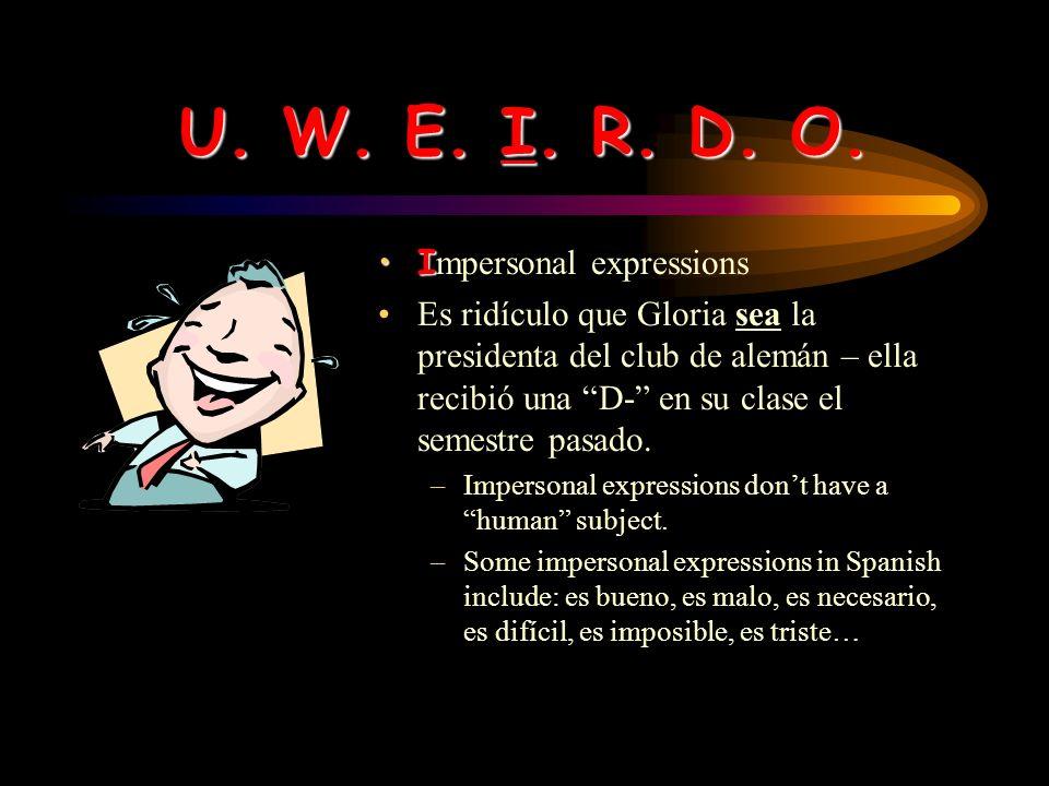 U. W. E. I. R. D. O. EE motion Me alegro que hayas recibido una A en la clase de historia.