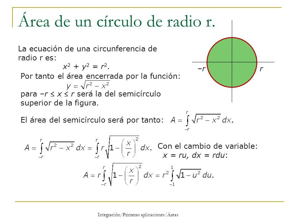 Área de un círculo de radio r (2) Integración/Primeras aplicaciones/Áreas –r–rr El área del semicírculo de radio r será por tanto: Como la función del integrando es par: Con el cambio de Variable: u =sen(v) se obtiene: Respuesta El Área de un círculo de radio r será: