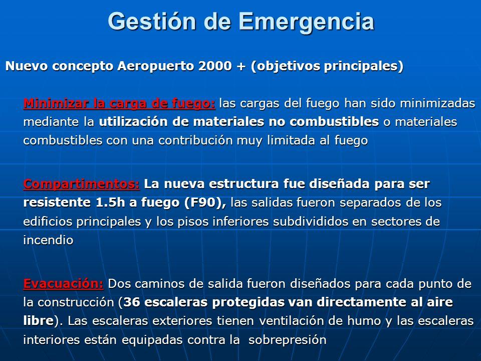 Gestión de Emergencia Nuevo concepto Aeropuerto 2000 + (objetivos principales) Minimizar la carga de fuego: las cargas del fuego han sido minimizadas