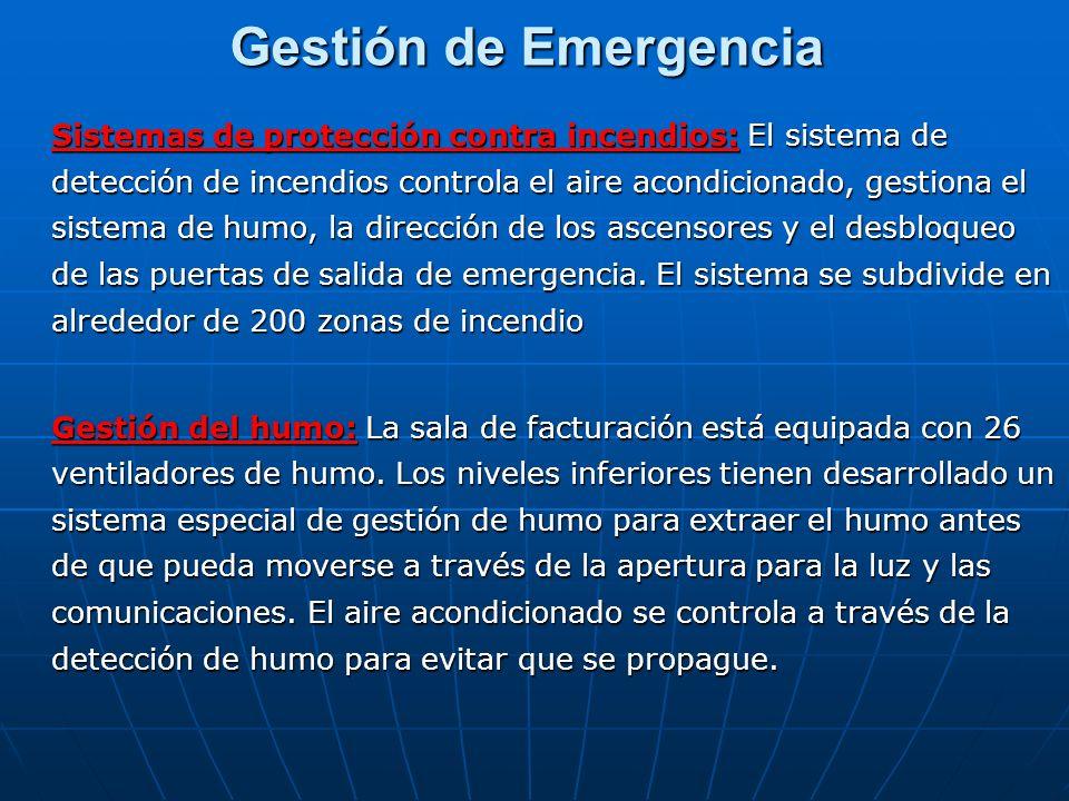 Gestión de Emergencia Sistemas de protección contra incendios: El sistema de detección de incendios controla el aire acondicionado, gestiona el sistem