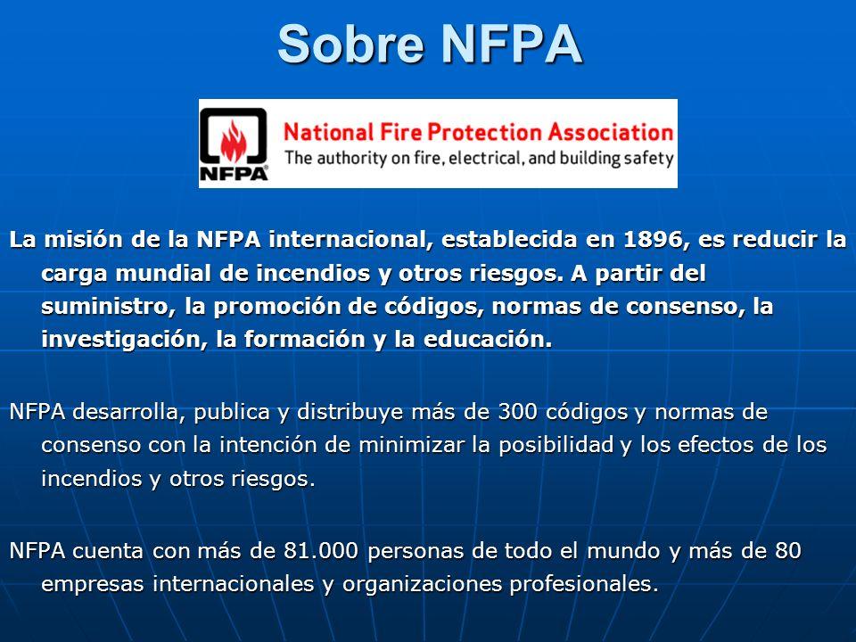 Sobre NFPA La misión de la NFPA internacional, establecida en 1896, es reducir la carga mundial de incendios y otros riesgos. A partir del suministro,