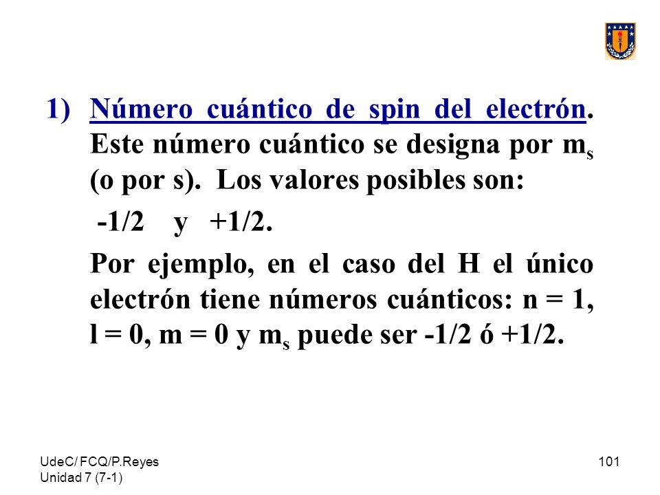 UdeC/ FCQ/P.Reyes Unidad 7 (7-1) 101 1)Número cuántico de spin del electrón. Este número cuántico se designa por m s (o por s). Los valores posibles s