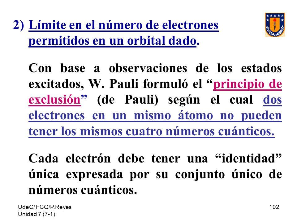 UdeC/ FCQ/P.Reyes Unidad 7 (7-1) 102 2)Límite en el número de electrones permitidos en un orbital dado. Con base a observaciones de los estados excita
