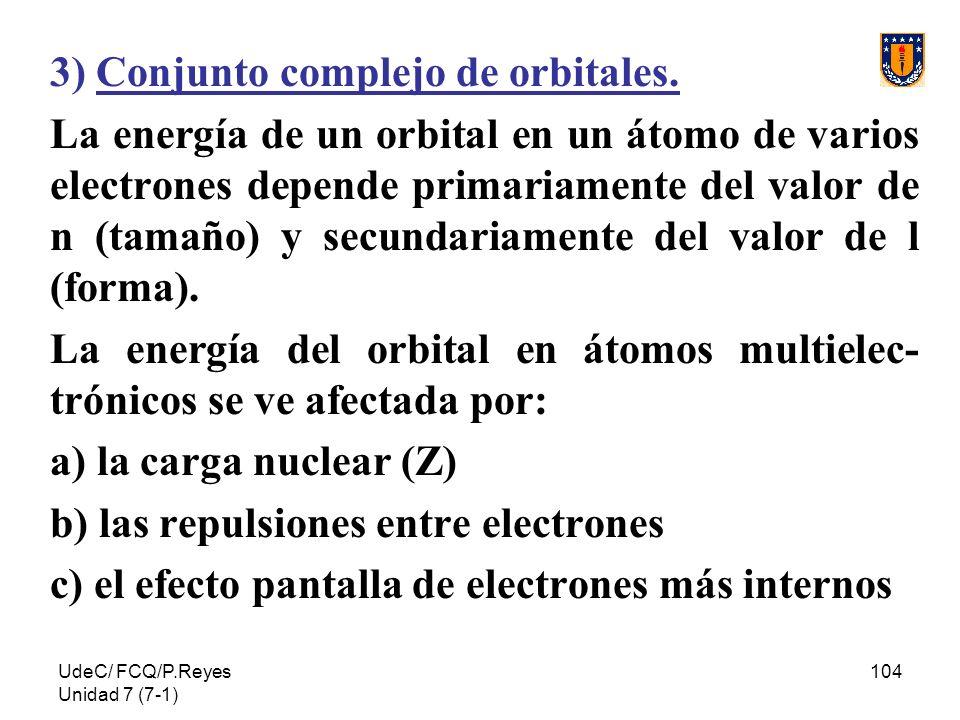 UdeC/ FCQ/P.Reyes Unidad 7 (7-1) 104 3) Conjunto complejo de orbitales. La energía de un orbital en un átomo de varios electrones depende primariament