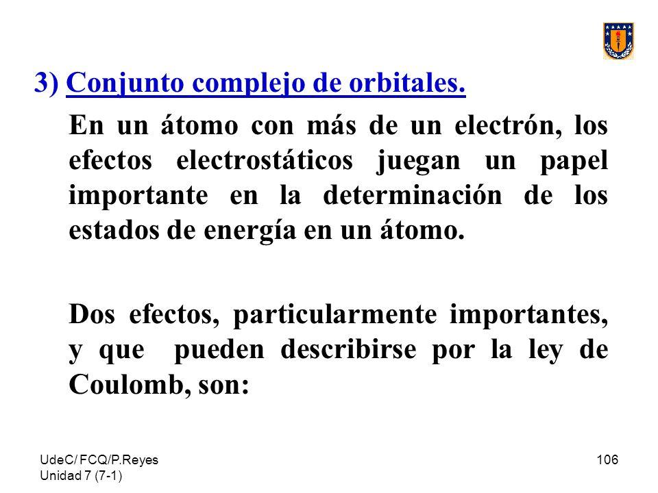 UdeC/ FCQ/P.Reyes Unidad 7 (7-1) 106 3) Conjunto complejo de orbitales. En un átomo con más de un electrón, los efectos electrostáticos juegan un pape